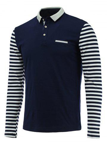 Chic Trendy Stripe  Spliced Turn-Down Collar Long Sleeve Tee For Men DEEP BLUE 3XL