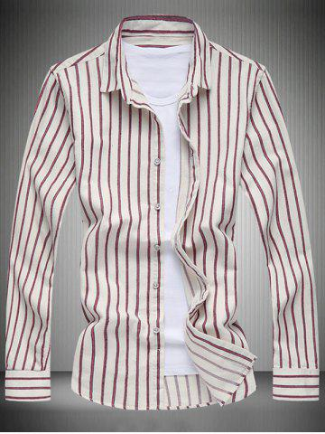 Store Long Sleeve Turn-Down Collar Striped Shirt