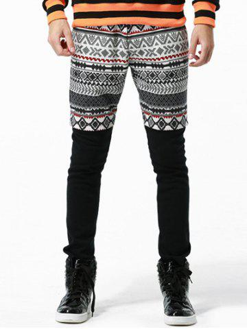 Discount Tribal Print Drawstring Faux Twinset Pants