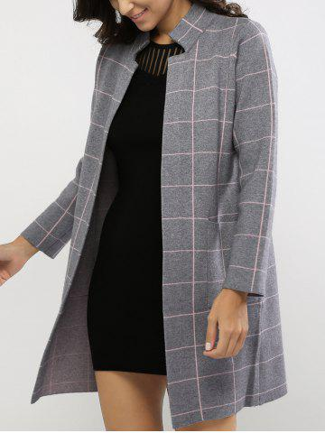Outfit Stand Collar Plaid Pocket Design Coat