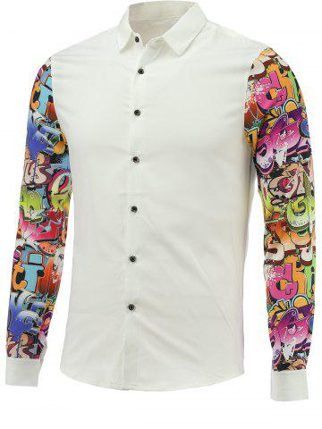 Outfits Turn-down Collar 3D Letter Print Long Sleeve Shirt For Men