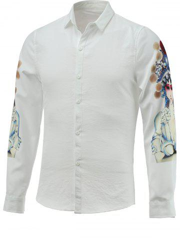 Best Peking Opera Character Print Long Sleeve Turn-down Collar Shirt For Men