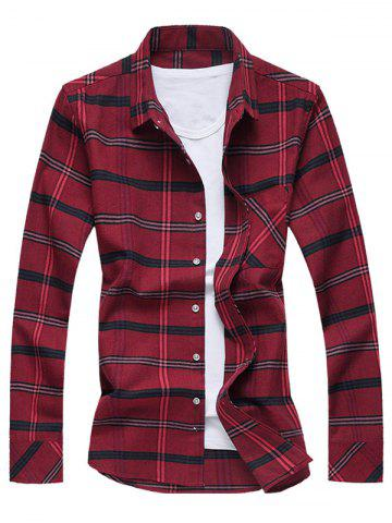 Best Turn-Down Collar Long Sleeve Checked Shirt