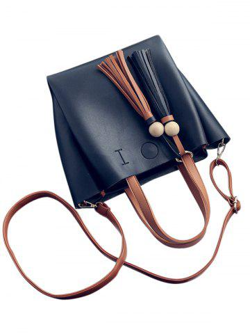 Shops Metal Ring Tassels Colour Block Tote Bag - BLACK  Mobile