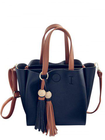 Best Metal Ring Tassels Colour Block Tote Bag - BLACK  Mobile