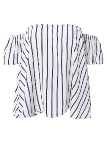 Fashion Off-The-Shoulder Striped Cropped Blouse