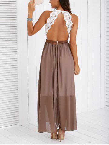 Shops Fashionable Lace Spliced Backless Maxi Dress