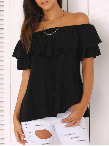 Affordable Off The Shoulder Loose-Fitting Flounce Blouse BLACK ONE SIZE