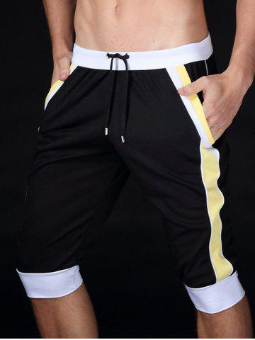 Latest Lace-Up Color Block Splicing Design Sport Cropped Joggers BLACK XL