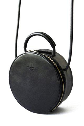 Round Leather Cross Body Bag - Black