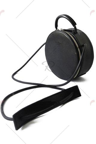 Shops Round Leather Cross Body Bag - BLACK  Mobile
