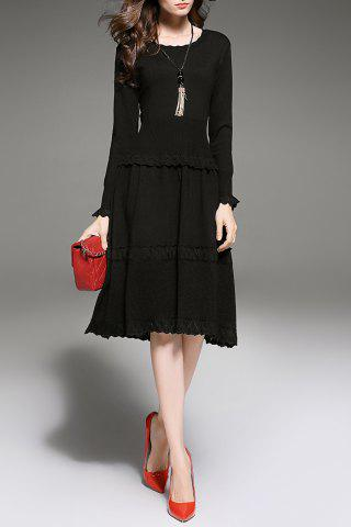 Ruffles Tiered Knitted Dress - Black - S