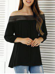 Off The Shoulder 3/4 Sleeve Blouse - BLACK XL