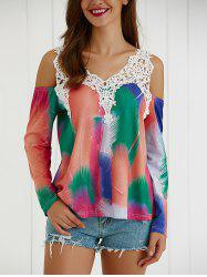 Tie-Dye Cut Out Lace Splicing Blouse -