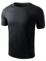 Simple Style Solid Color Short Sleeves T-Shirt For Men - BLACK 3XL