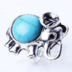 Vintage Artificial Turquoise Cut Out Elephant Ring