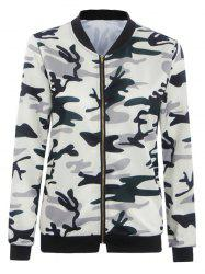 Camouflage Print Zipper Design Slim Jacket -