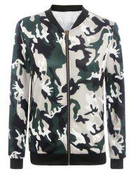 Stand Collar Camouflage Pattern Zippered Jacket -