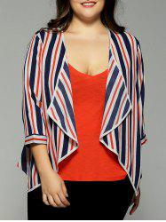 Plus Size Hit Color Stripe Chiffon Jacket