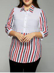 Plus Size Colorful Vertical Pinstripe  Shirt