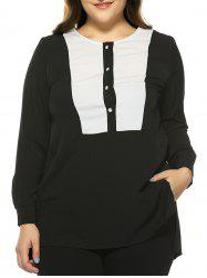 Plus Size Color Block Chiffon Asymmetric Blouse -