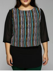 Plus Size Stripe Chiffon Blouse