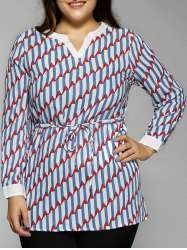 Plus Size V-Neck Drawstring Waist Zigzag Blouse -