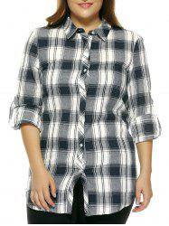 Oversized Fashion Gingham Slit Hi Low Shirt - CHECKED 3XL