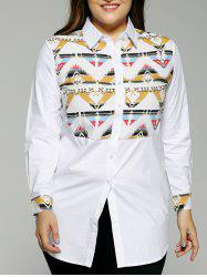 Plus Size Colored Geometric Long Shirt