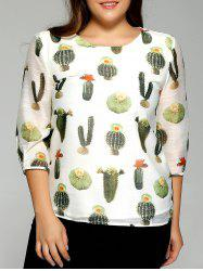 Oversized Fashion Cactus Plant Print Chiffon Blouse