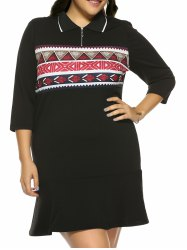 Plus Size Print Mini Fitted Dress -