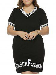 Oversized Graphic Stripe Trim Tee Dress