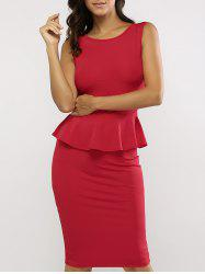 Sleeveless Bodycon Midi Peplum Dress - RED