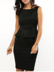 Sleeveless Bodycon Midi Peplum Dress