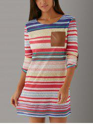Long Sleeve Striped Color Block Shift Mini Dress