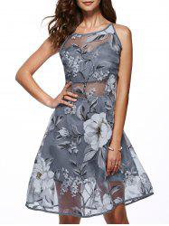 Sleeveless Round Neck Spliced Flower Print Dress