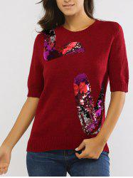 Sequined 1/2 Sleeve Round Neck Sweater -