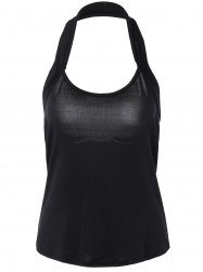 Pure Color Halter Neck Backless Tank Top -