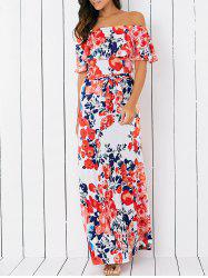 Off-The-Shoulder Floral Overlay Maxi Dress