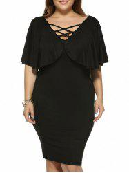 Plus Size Criss Cross Skinny Cape Dress
