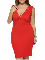 Plus Size Plunging Neck Back Furcal Dress -