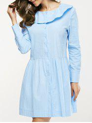 Flounce Collar Button Design Ruched Dress - LIGHT BLUE