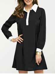 Long Sleeve Splicing Buttoned Contrast Color Dress - BLACK