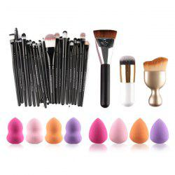 MAANGE5152 20 Pcs Makeup Brushes Set + 8 Pcs Makeup Sponges + S-Shape Blush Brush + Foundation Brush + Contour Brush -