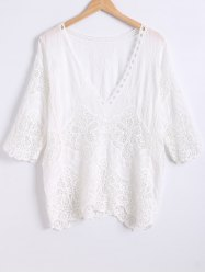 Wave Cut Crochet Openwork Blouse