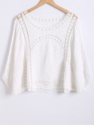 Crochet-Trim Loose Batwing Sleeves Blouse