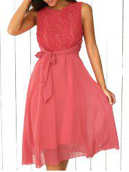 Lace Inset Chiffon A Line Swing Midi Dress