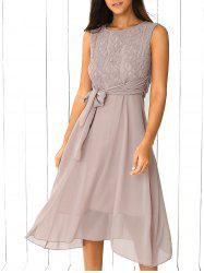 Lace Inset Chiffon A Line Swing Summer Dress - LIGHT KHAKI