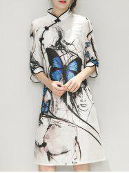 Butterfly Pattern Ink-Painting Cheongsam Dress