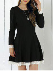 Lace Patchwork Fit and Flare Dress -
